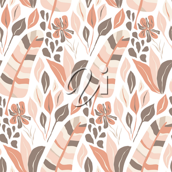 Vector Seamless Tough  Pattern with Fantastic Flowers and Leaves. Original Design for Wallpaper, Pattern, Print, Card etc