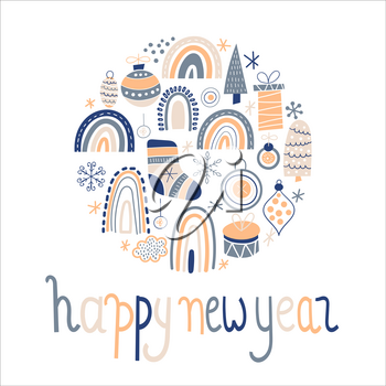 Vector Happy New Year Greeting Card. Vector Christmas Pattern with boxies, toys, rainbow, fir trees, socks, etc. Childish naive scandinavian style.