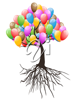 Royalty Free Clipart Image of a Balloon Tree