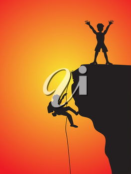 Royalty Free Clipart Image of Two Rock Climbers