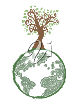Royalty Free Clipart Image of a Tree on Earth