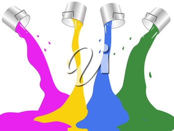 Royalty Free Clipart Image of Buckets of Paint