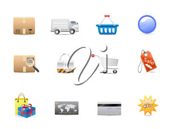 Royalty Free Clipart Image of Consumerism Icons