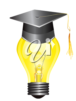 Royalty Free Clipart Image of a Light Bulb With a Graduation Cap