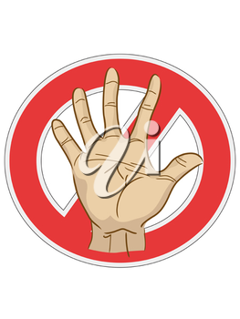 Royalty Free Clipart Image of a Hand With a Stop Sign