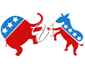 Royalty Free Clipart Image of a Democrat vs Republican Icons