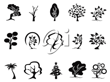 isolated black tree icons set from white background