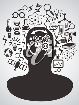 isolated human head with science icons set on gray background