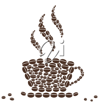 isolated Hot Cup of Coffee with Bean Pattern on white background