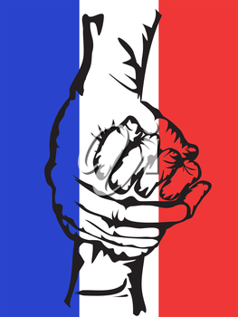 the background of hands holding solidarity france