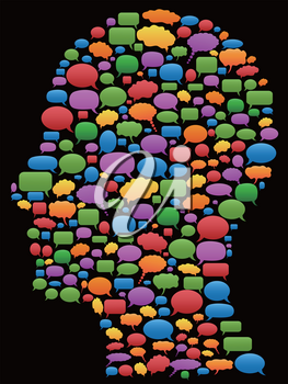colorful speech bubbles in head profile on background