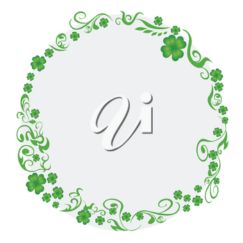 isolated green clover circle with copy space on white background