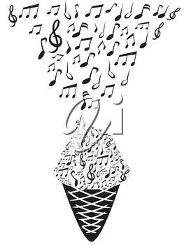 isolated ice cream with music notes from white background