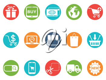 isolated eCommerce round button icons set from white background
