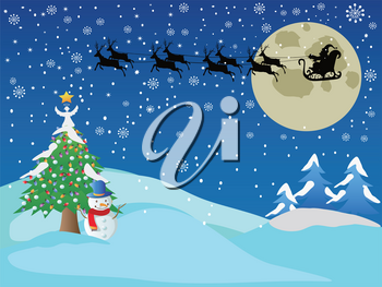 the Christmas holiday background of santa across the snow night