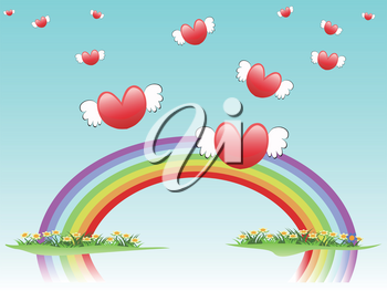 the background of flying hearts on rainbow for valentine day