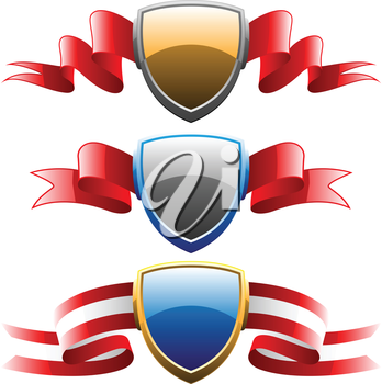 Royalty Free Clipart Image of Shields With Ribbons
