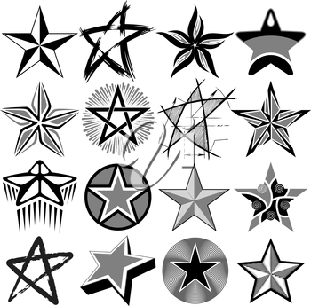 Royalty Free Clipart Image of a Set of Stars