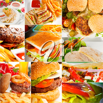 burgers and sandwiches collection on a collage nested square canvas