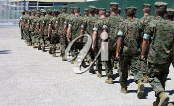 Royalty Free Photo of Marines Marching
