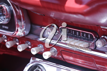 Royalty Free Photo of the Dashboard in a 1963 Ford Sprint