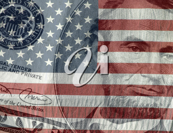 Royalty Free Photo of US Currency and the American Flag
