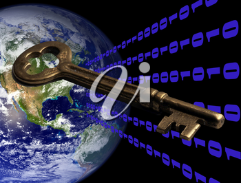 Royalty Free Photo of Planet Earth and Binary Code