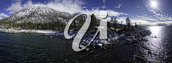 Royalty Free Photo of Sand Harbor Lake Tahoe, California, USA. This is a 5 image aerial panoramic of Sand Harbor at Lake Tahoe.