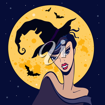 Royalty Free Clipart Image of a Witch in Front of a Full Moon