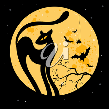 Royalty Free Clipart Image of a Black Cat Against the Moon