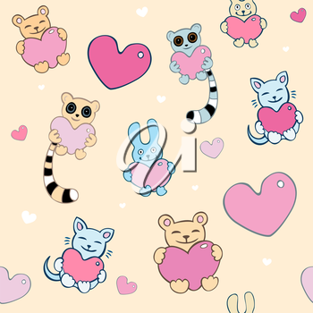 Royalty Free Clipart Image of a Lemur, Cat and Bunny Background