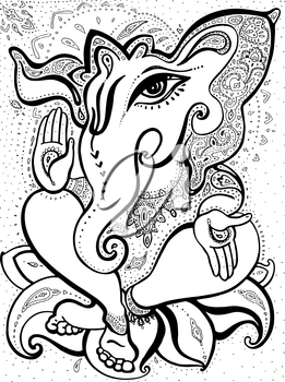 Royalty Free Clipart Image of the Hindu God Ganesha.