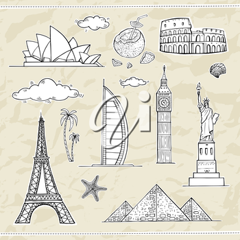 Travel and tourism labels collection. Vector hand drawn illustration.