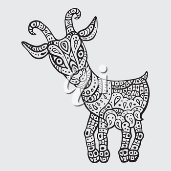 Chinese Zodiac. Chinese Animal astrological sign - goat. Vector Illustration.