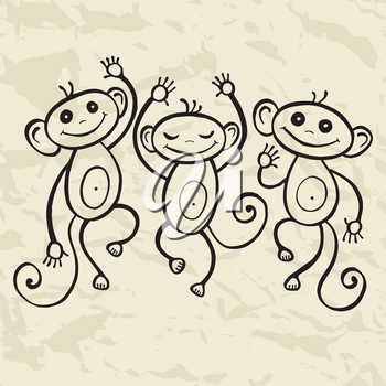 2016 New year. Chinese Animal astrological sign, Monkey. Hand drawn Vector Illustration