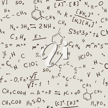 Seamless chemistry background. Vector hand drawn pattern