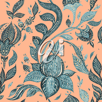 Abstract Flower. Hand Drawn Floral Pattern. Seamless Paisley. Watercolor illustration. Can be used for wallpaper, website background, textile, phone case print