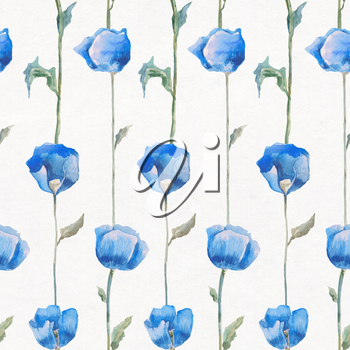 Watercolor Floral pattern. Hand drawn Flower seamless background