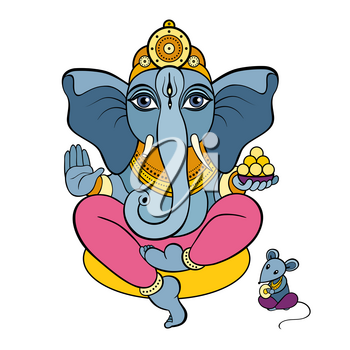 Hindu God Ganesha. Hand drawn tribal style. Vector illustration.
