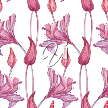 Abstract Flowers, seamless pattern. Hand painted Watercolor botanical illustration.