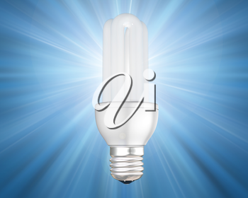 Illustration of an illuminated energy saving light bulb