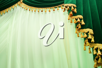 Royalty Free Photo of Luxurious Green Curtains