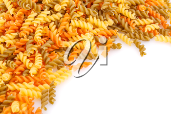 Pile of colorful pasta on white background.