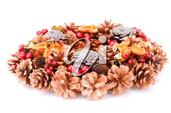 Christmas decoration with cones isolated on white background.