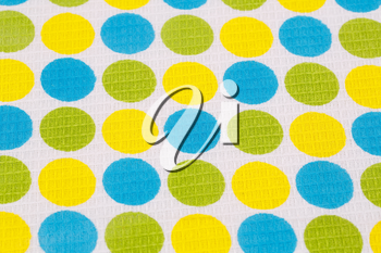 Tablecloth with round pattern  closeup picture.