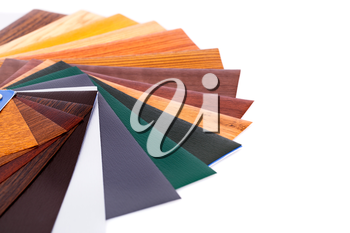 Wood coating color samples on white background.