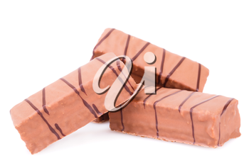 Chocolate biscuits isolated on white background.