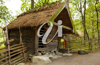 Traditional old wind mill at Skansen, the first open-air museum and zoo, located on the island Djurgarden.