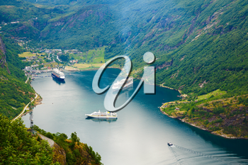 Geiranger, the most beautiful fjord in the world, Norway. UNESCO world heritage site.