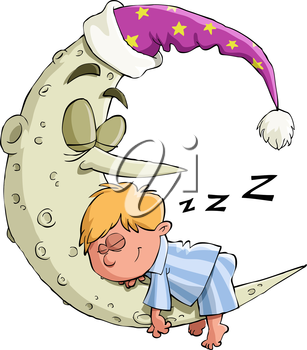 Royalty Free Clipart Image of a Boy Sleeping on the Moon